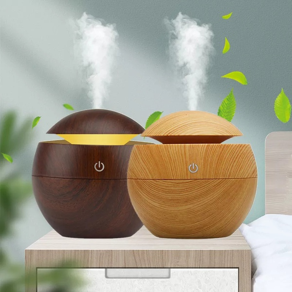 Mini ultrasonic humidifier- light wood design picture