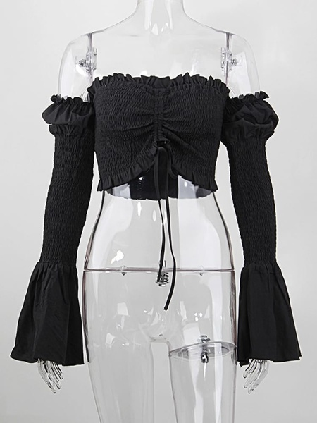 Festival drip ruched top - black/blue picture