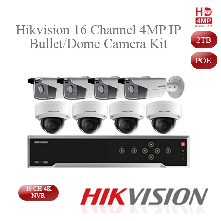 Hikvision 4mp ip dome/bullet camera kit - 16ch 4k nvr - picture