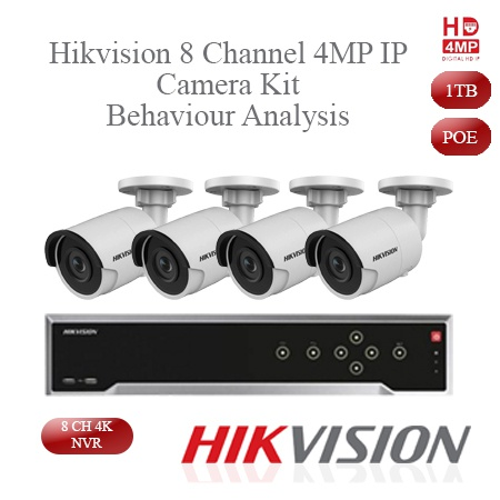 Hikvision 4mp ip camera kit - 8ch 4k nvr - 4 x 4mp ip cameras - 30m night vision picture