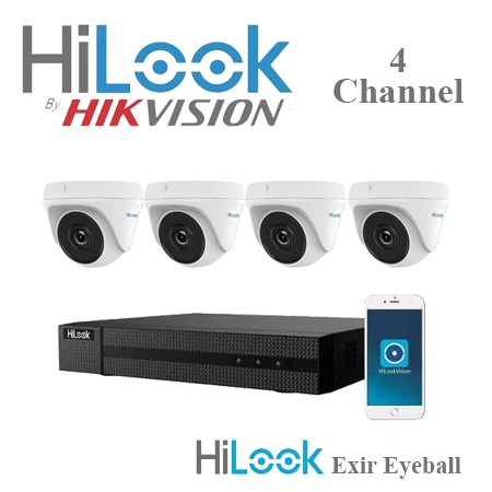 Hilook by hikvision 4ch turbo hd kit - dvr - 4 x hd720p exir eyeball camera picture
