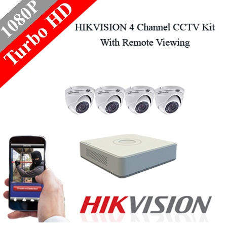 Hikvision 4 channel 2mp dome turbo hd kit. picture