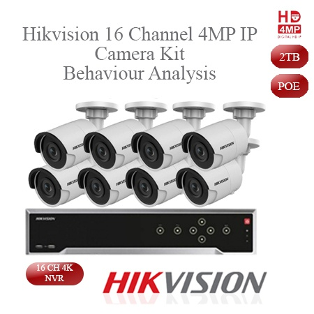 Hikvision 4mp ip camera kit - 16ch 4k nvr - 8 x 4mp ip cameras -30m night vision picture