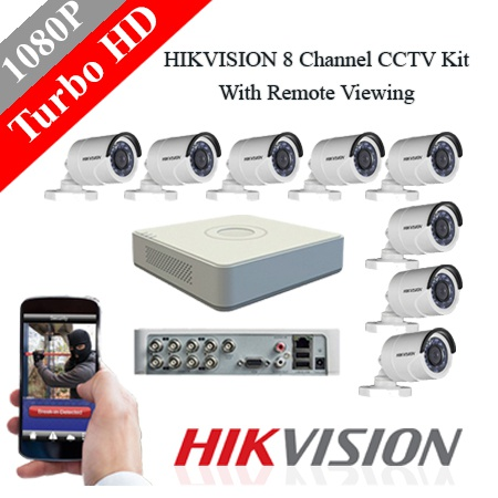 Hikvision 8 ch 2mp bullet turbo hd kit - embedded dvr picture