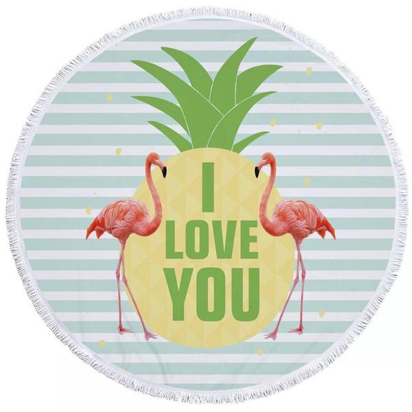 Round towel - flamingo love picture