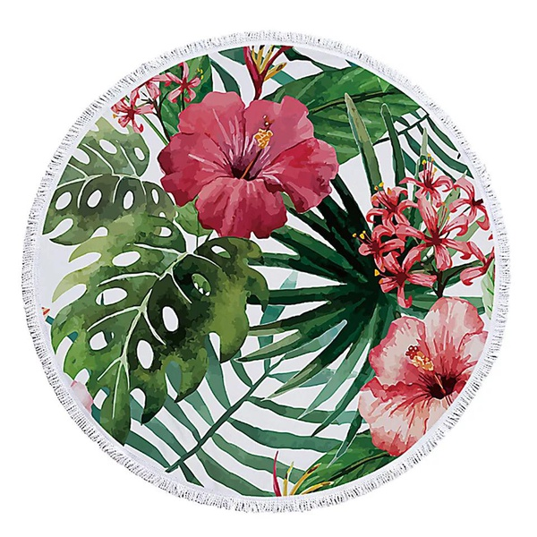 Round towel - tropical picture