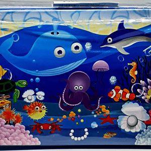 Puzzle in tin - ocean animals 12.5 x 8cm picture