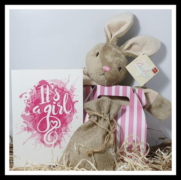 Baby bunny girl gift box picture