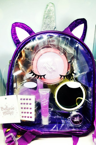 Sparkling unicorn cosmetics back pack picture