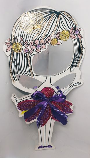 Hand designed ballet handheld and wall hanging mirror picture