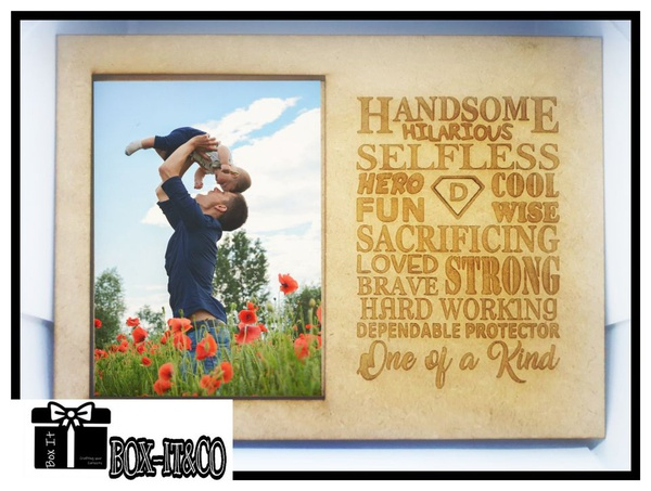 """Wooden dad """"one of a kind"""" engraved photo frame picture"""