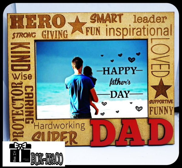 My dad hero wooden engraved photo frame picture