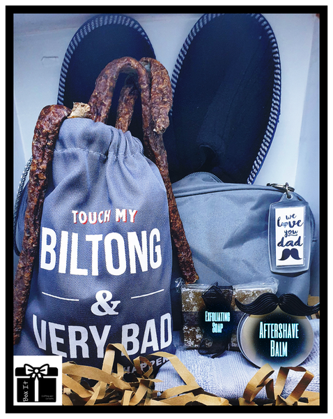 Dad with beard biltong gift box picture