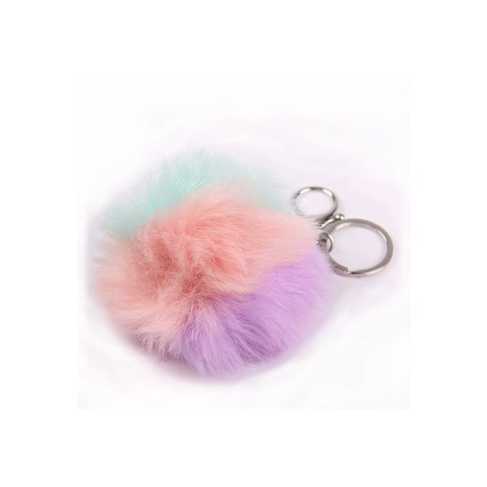 Keyring accessory multi coloured pom-pom picture