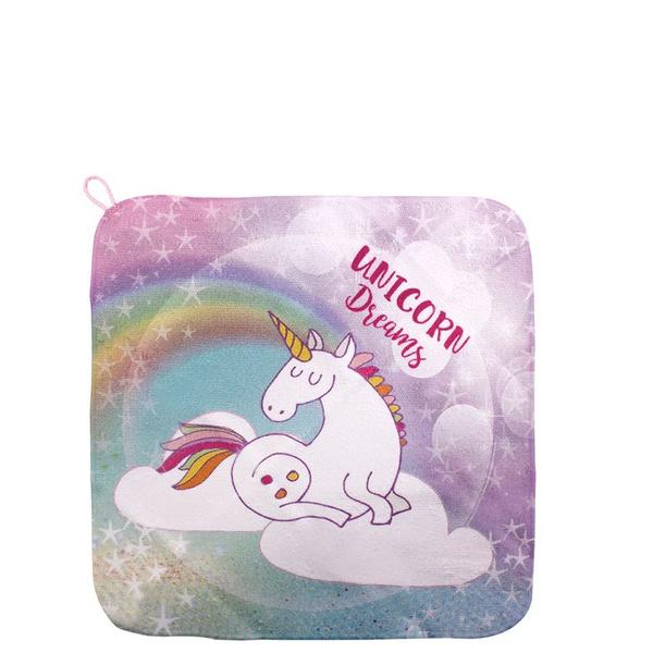 Unicorn dreams kids facecloth - 30 x 30cm picture