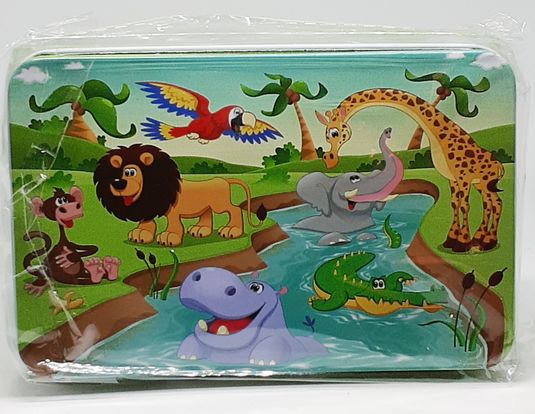Puzzle in tin - jungle kingdom 12.5 x 8cm picture