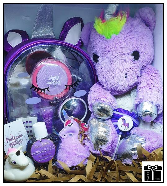 Purple glitter sparkle unicorn gift box picture