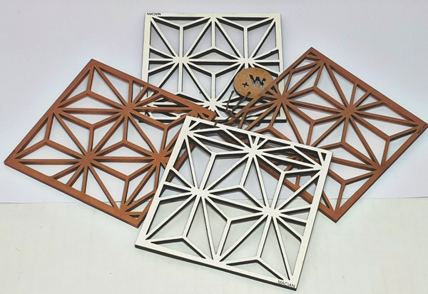 Macaine hand crafted wooden coasters - 4 piece picture