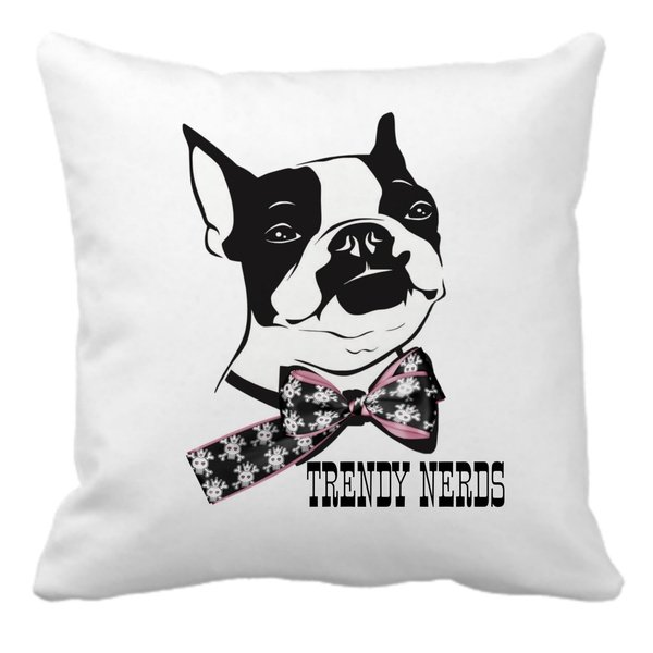 Trendy nerds boston scatter cushion - pink picture