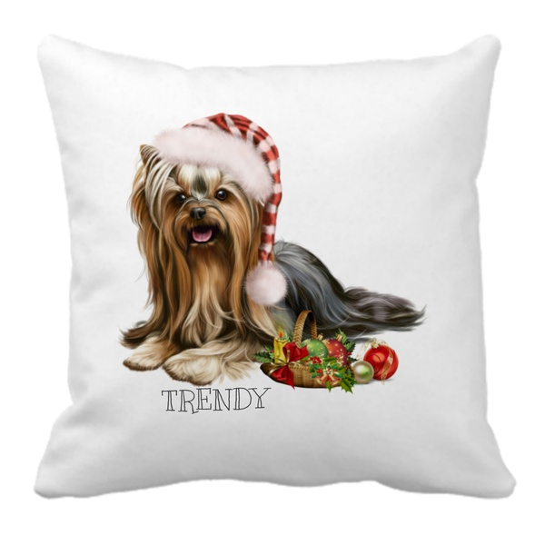 Trendy - happy holiday yorkie scatter cushion picture