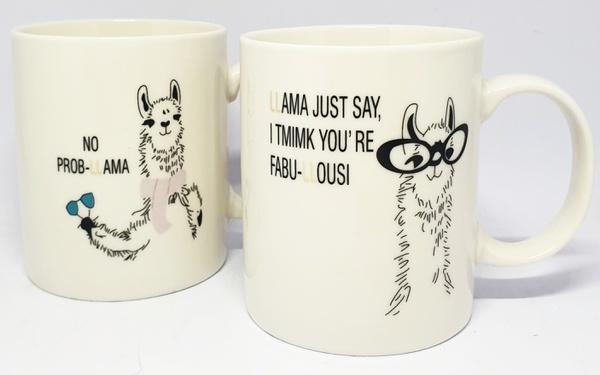 Novelty llama ceramic mug set picture