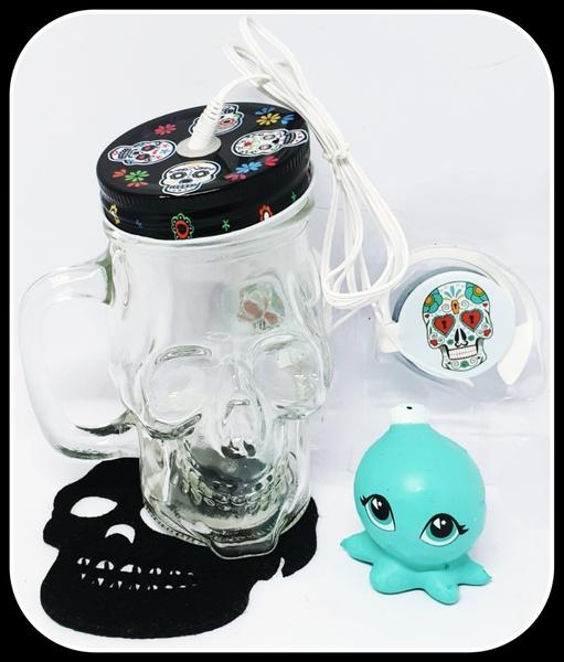 Candy colour skull headphones in skull jar - black & blue picture