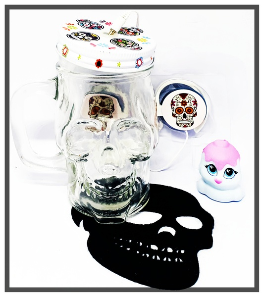 Candy colour skull headphones in skull jar - white & pink picture