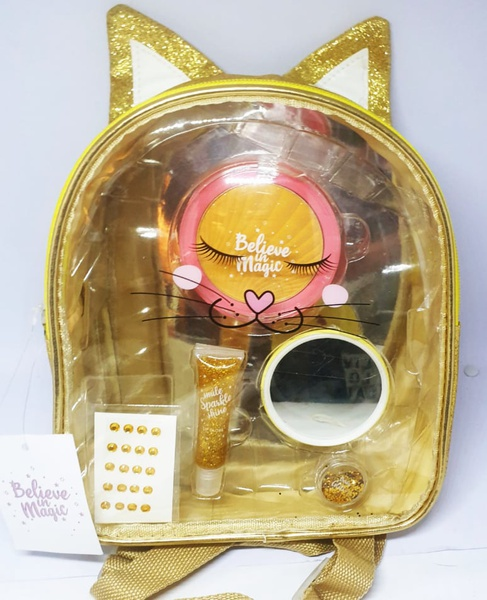 Sparkling gold kitten cosmetic back pack picture