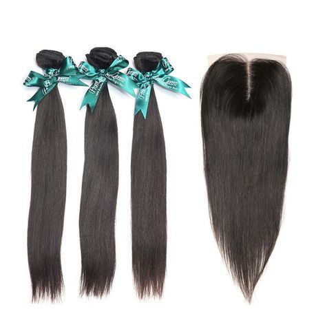 Brazilian straight virgin hair weave with 4x4 lace closure 8a grade - (12inch x3 + 10inch closure) picture