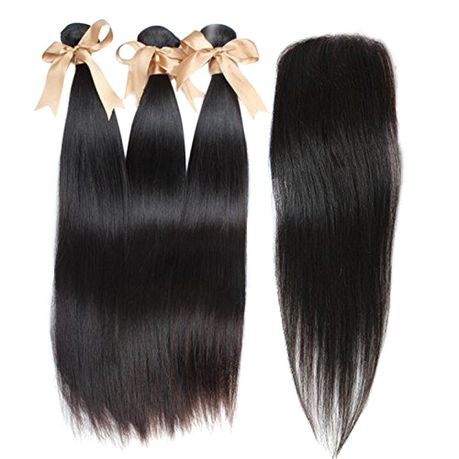 100% human brazilian straight hair with 3 part closure 10a grade -10inch picture
