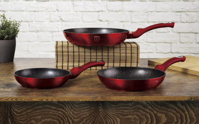 Berlinger haus 3-piece marble coating fry pan set - burgundy metallic picture
