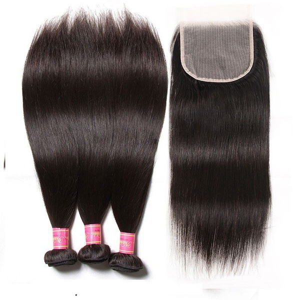 """Brazilian virgin hair 22"""" 3 bundles + 4x4 closure and free tail comb picture"""