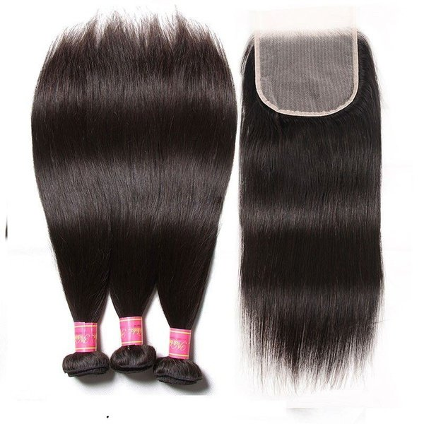 Brazilian virgin hair 32 inches 3 bundles + 4x4 closure and free tail comb picture