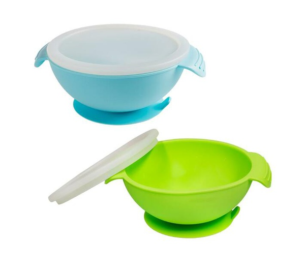 Napps silicone baby suction feeding bowls - green and blue (2 pack) picture