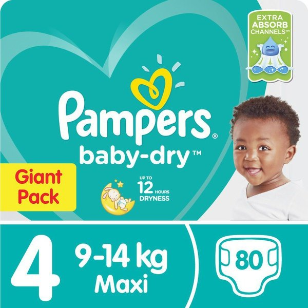 Pampers baby dry - size 4 giant pack - 80 nappies picture