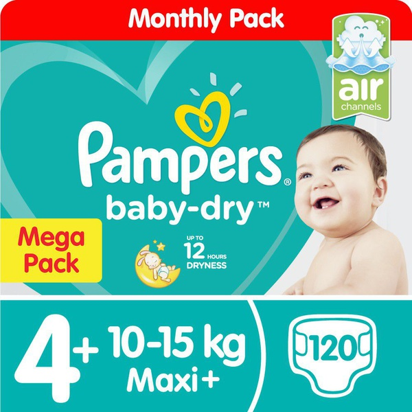 Pampers baby dry - size 4+ mega pack - 120 nappies picture