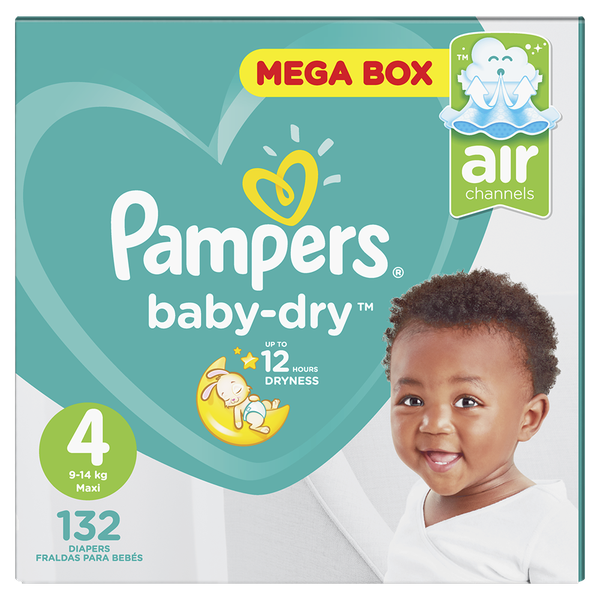 Pampers baby dry - size 4 mega pack - 132 nappies picture