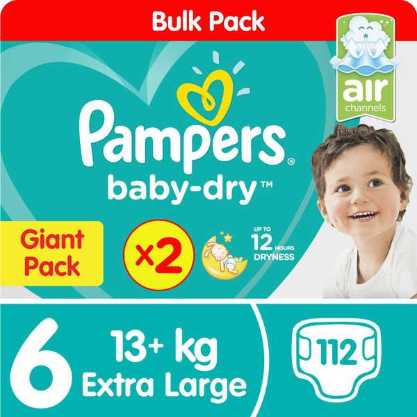 Pampers baby dry - size 6 twin giant - 2x56 nappies picture