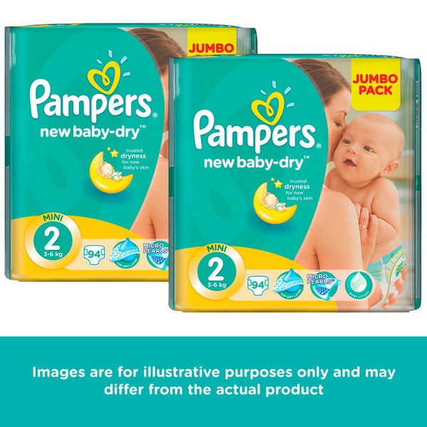 Pampers new baby dry - size 2 jumbo pack - 2 x 94 nappies picture
