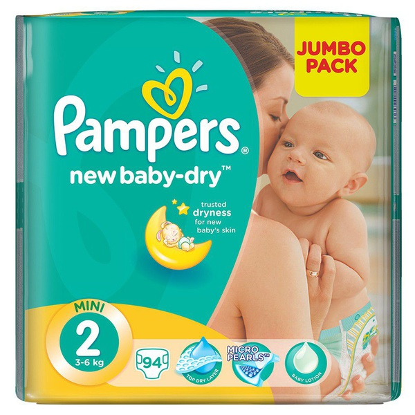 Pampers new baby dry - size 2 jumbo pack - 94 nappies picture