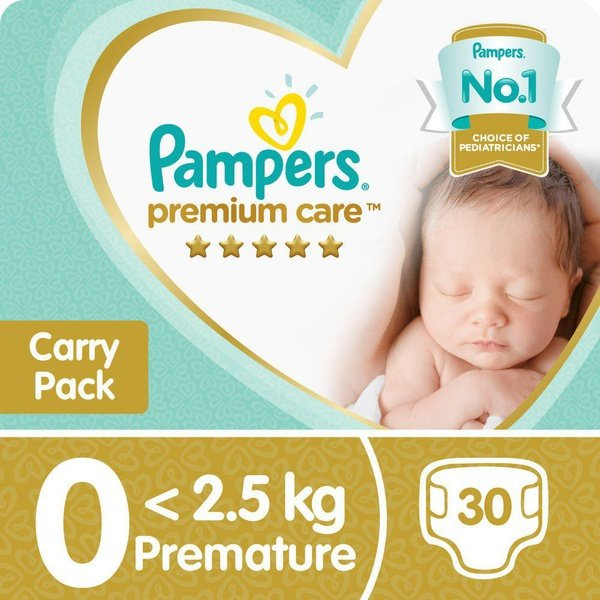 Pampers premium care - size 0 carry pack - 30 nappies picture