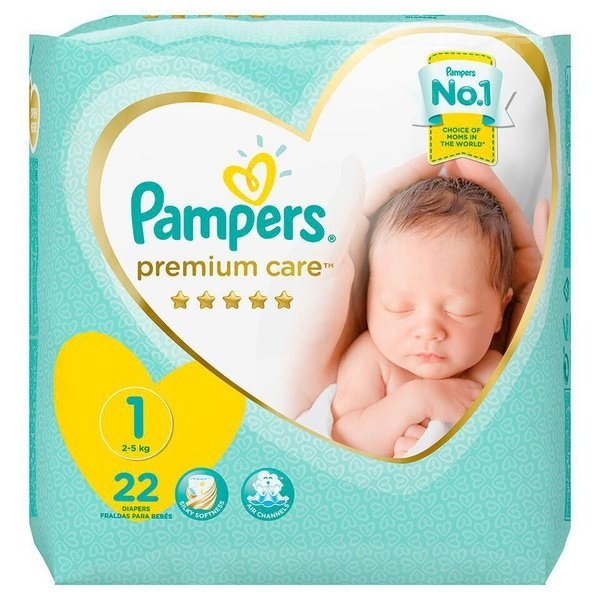 Pampers premium care - size 1 carry pack - 22 nappies picture