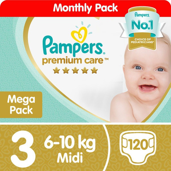Pampers premium care - size 3 mega pack - 120 nappies picture
