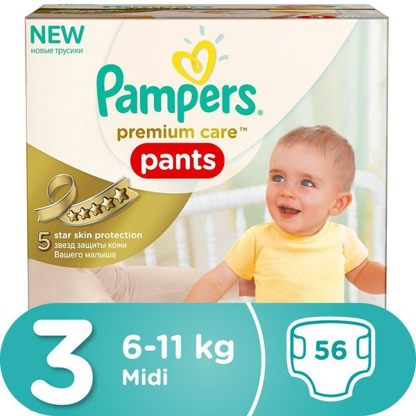 Pampers premium care pants - size 3 jumbo pack - 56 nappies picture