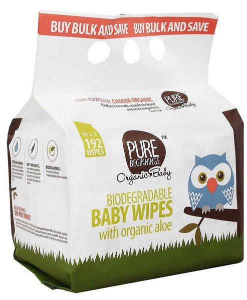 Pure beginnings - biodegradable baby wipes with organic aloe - white picture