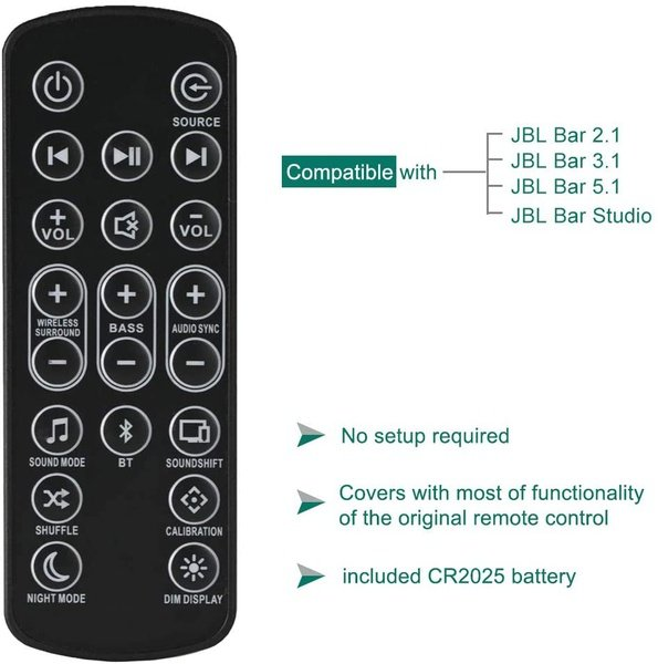 Remote control for jbl bar 3.1 sound bar system home theater, also replace for jbl bar 5.1 picture
