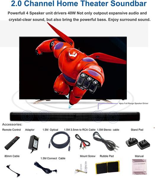 Samtronic 40w detachable soundbar tv speaker, flat screen tv sound bar picture