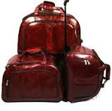 Set of 3 suitcases leather travel trolley luggage picture
