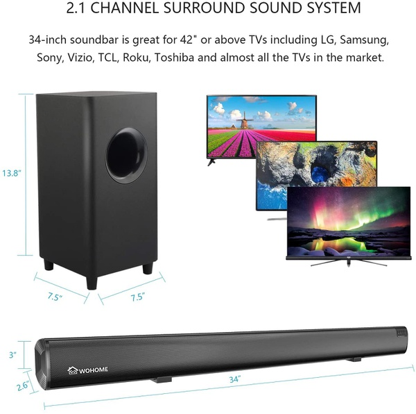 Sound bar wohome 2.1 channel bluetooth soundbar for tv with subwoofer home theater system picture