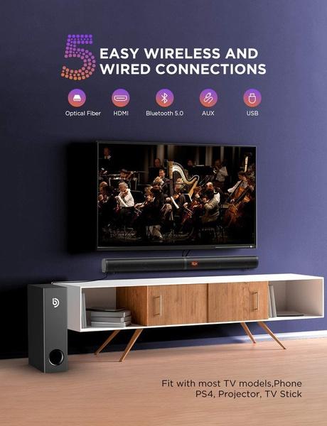 Soundbar for tv, bomaker 190w 2.1 tv sound bar with subwoofer picture